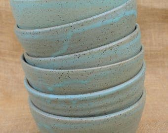 Set of 6 cereal stacking pottery bowls, rustic, stoneware, wheel thrown