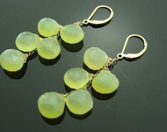 Lime Green Chalcedony 14K Gold Filled Leverback Earrings