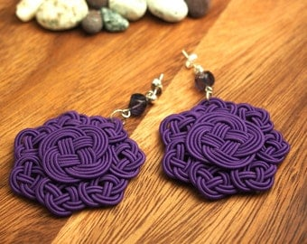 925 Silver Earrings, by Chinese Knot (Celtic Knot) - Purple