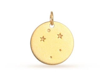 Charm  Libra  Constellation 24Kt Gold Plated Sterling Silver 18x14.75 - 1 pc (11201) Wholesale Price