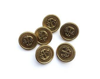 6 Ted Lapidus Gold Metal Shank Buttons, French Haute Couture,
