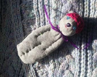 Lavender Filled Sachet Sock Doll OOAK Grey w/Pink Hat Blue Eyes Purple Heart Nose English Lavender Lavandula 'Provence'