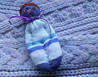 Lavender Filled Sachet Sock Doll OOAK  White and Blue w\Brown Hat Amber Eyes English Lavender Lavandula 'Provence'