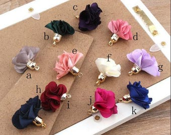 20 pcs 27 mm Mini Fabric Flower Tassels with Gold Color Caps 11 Colors
