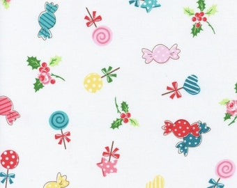 Sale Flower Sugar Holiday Fabric White Candy Toss Lecien Fabrics Half Yard