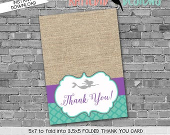mermaid under the sea burlap 1365 THANK YOU CARD folded purple teal gray aqua digital printable baby shower birthday stationary