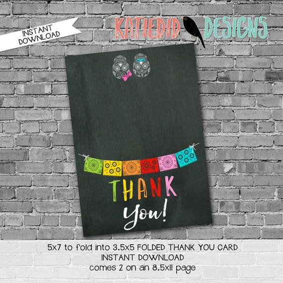 fiesta couples shower Papel Picado chalkboard 1460 THANK YOU CARD folded digital printable baby shower birthday stationary