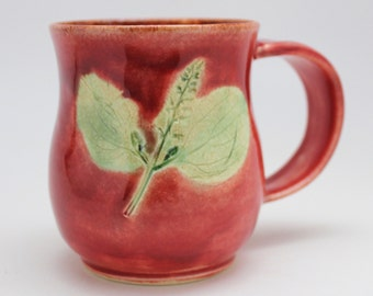 Wheel Thrown Stoneware Leaf Impressed Mug in Brick Red and Celedon Green