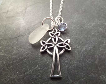 Celtic Cross Necklace with White Scottish Sea Glass and Denim Blue Crystal, Jewelry from Scotland