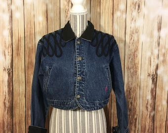 Vintage Women's Sassoon Cropped Denim Jacket Size M Black Faux Suede Detail Long Sleeve