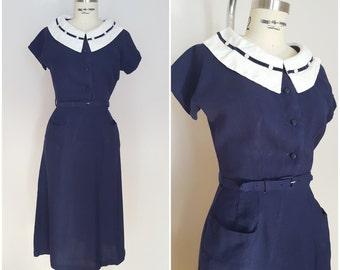 Vintage 1940 Dress / Navy Blue A-Line Dress / Roxanne Adams by American Apparel / XS