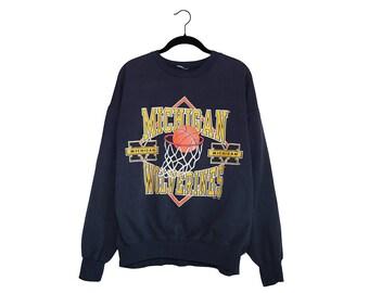 Vintage University of Michigan Wolverines Basketball 1993 NCAA Navy Blue Sweatshirt, Made in USA - XL