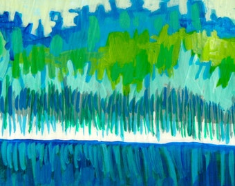 Trees, ORIGINAL PAINTING, blue phase, new england marsh, acrylic painting, painting of trees, blue painting