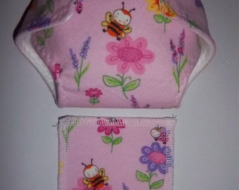 Baby Doll Diaper/wipe - cute bees and flowers on medium pink  - adjustable for many dolls such as bitty baby