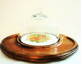 Retro Goodwood Glass Domed Spice of Life Tile and Oak Wood Cheese Board, Serving Tray ... Cheese, Crackers, Dip