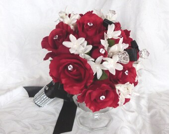 Reserved Payment 3 Red rose bouquet red white black wedding bouquet and boutonniere package