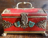 Vintage French Red Tin Money Box Safe Cash box treasure chest with clasp for lock circa 1950-60's / English Shop