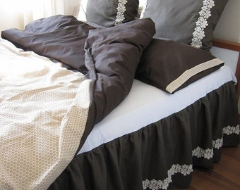 clearance sale Brown beige cream Bedding Queen size Duvet cover shabby chic  pillow cases 3 pcs