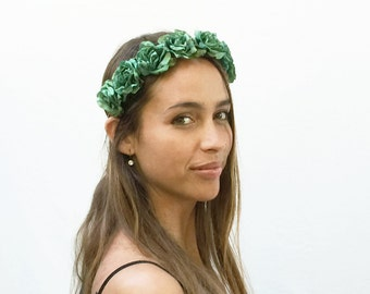 Green Flower Crown, Turquoise, Festival Clothing, Teal, Rose Headband, Rose Crown,  Flower Crown, Floral Crown, Bohemian Clothing, Boho
