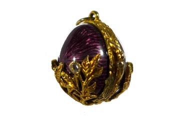 Sterling Silver Purple Enameled Gold Overlay Jeweled Egg Pendant Locket