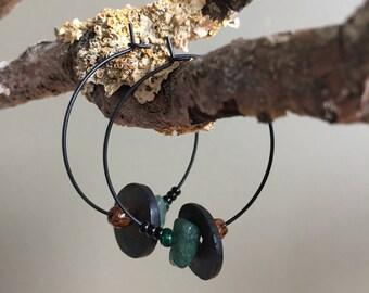 green aventurine black hoop earrings - black brown and green hoop earrings -matte  black hoop earrings - assymetrical hoop earrings for her