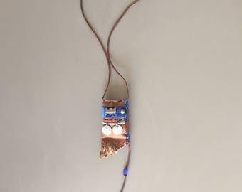 stunning boho tribal lavender pouch necklace - one of a kind ethnic kuchi coins necklace - fringes leather blue brown pendant - gift for her