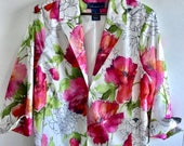 SUPER SALE Vintage Susan Graver Floral Jacket, Bold Watercolor Blossoms, Gorgeous, Plus Size 1X, Spring, Mothers Day,  Free  Shipping USA