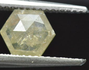 1.01ct 7.65mm Ivory VIDEO LINK Champagne yellow Hexagon diamond 7.65 by 2.5mm deep