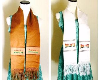 Unisex Alpaca Scarf, Winter Accessory,  BOLIVIA Souvenir, Embroidered, Alpaca Designs, Clearance Sale