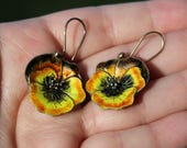 Vintage Enameled Sterling Silver Pansy Earrings Floral Chinese Export