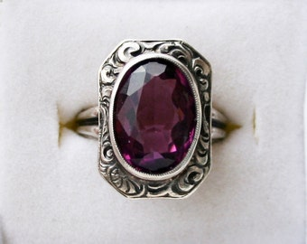 Antique Sterling Silver Amethyst Glass Ring Size 4