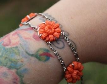 Vintage Art Deco Coral Floral Celluloid and Chrome Bracelet Orange Flower Bracelet 1930s