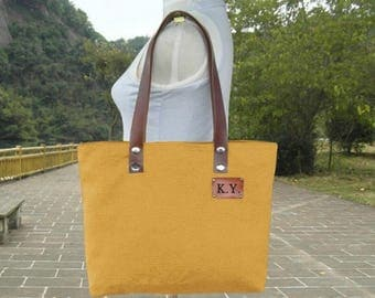 Fathers Day Sale 20% off Golden canvas tote bag, personalized leather strap tote bag, women's shoulder bag with unique tag