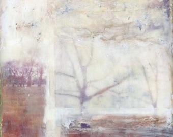"Encaustic Collage by Angela Petsis, Original Encaustic Paitning, Nature Art, ""Lost Winter"", Oringinal Mixed Media Painting"
