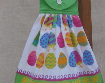 Easter Egg Hanging Towel, Lime Green Easter Hand Towel, Easter Kitchen Tea Towel