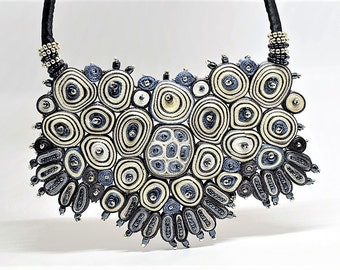 Extravagant necklace white grey, statement fabric necklace, gift for her, gift for woman, personalized gift - Textile jewelry OOAK for order