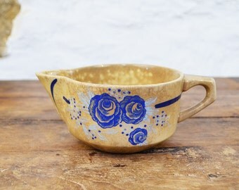 Extreme Shabby Chic Antique French creamer sauce gravy boat jug Discolored Distressed blue
