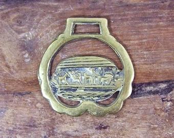 Vintage Horse Brass Noahs Ark Religious Bible story flood boat