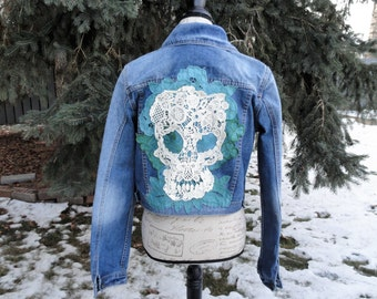 White Skull with Teal Embroidered Flowers Altered Couture Jean Jacket Boho Rocker Sz M - L