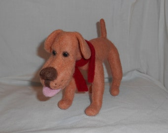 Tan Needle Felted Dog - Free Shipping to US and Canada