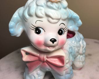 Vintage Baby Shower Planter 1950's Mint Rubens Baby Blue Lamb Planter Number 155 Made in Japan