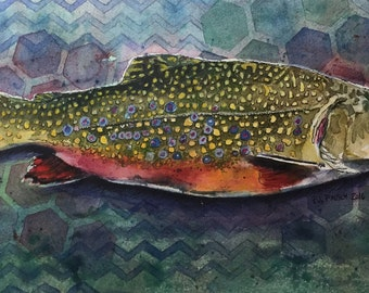 Original Watercolor Painting, Trout painting, Fish Painting, Original Painting, Colorful Art, Nature Painting