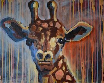 Original Painting, Giraffe, Animal Painting, Giraffe Art, Canvas Painting, Nature Painting, Affordable Art, Giraffe Painting, Home Decor