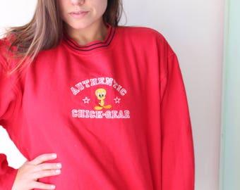 Vintage LOONEY TUNES Sweatshirt..large xlarge...cartoon. retro. tweety bird. sylvester. bird. thats all folks. oversized. 90s clothing. red