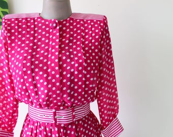 1960s PINK POLKA DOTS Day Dress..size small to medium...pink dress. polka dots. retro. day dress. twiggy. wiggle. twirl. mod. pretty in pink