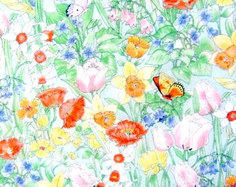 Cotton Fabric, fabric supplies, sewing fabric, wild flower design, spring flowers, clothing fabric, feminine fabric, sun dress fabric,