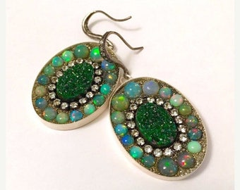ON SALE Gorgeous uvarovite and opal earrings