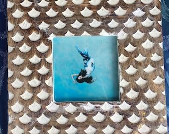Framed Mermaid Art Print Gold Fish Scales