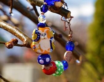 Easter Bunny lampwork glass beads set earrings+bracelet