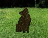"Special listing for Paula 1 Australian Shepherd  steel garden art sculpture with "" Spencer "" added"